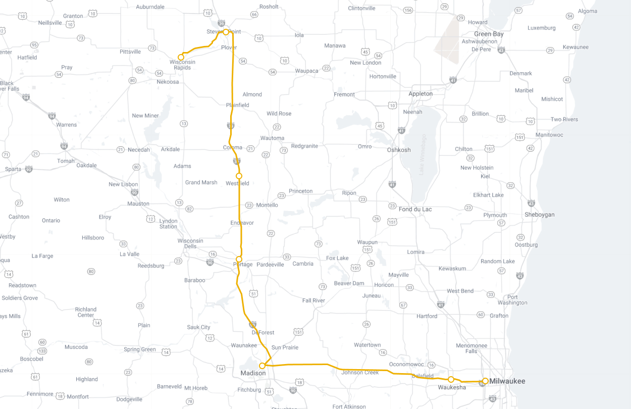 Map of Lamers Connect route Wisconsin Rapids to Milwaukee