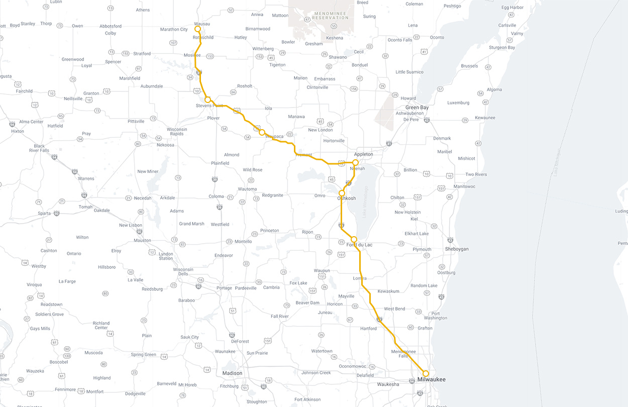 Map of Lamers Connect Wausau to Milwaukee route
