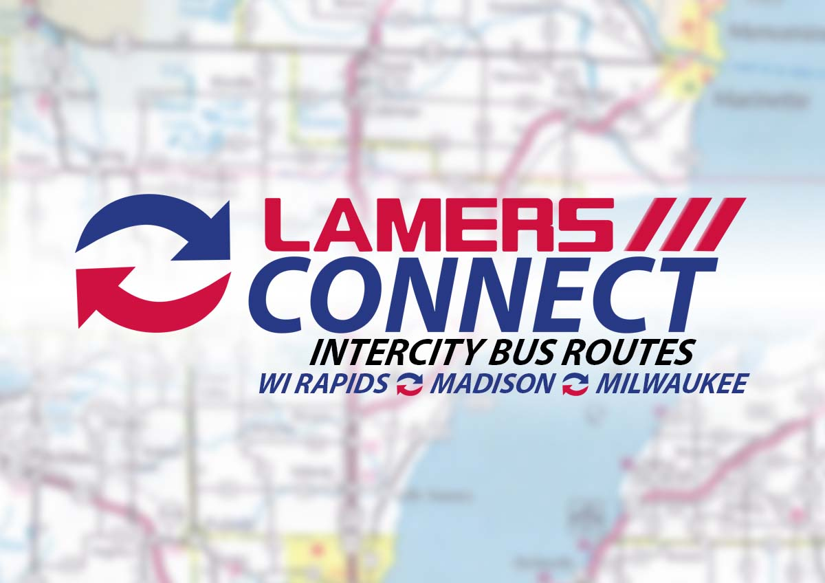 Lamers Connect intercity bus routes Wisconsin Rapids Madison and Milwaukee