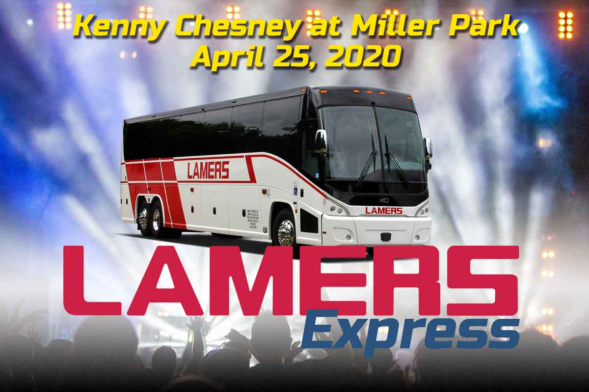 Bus ride to Kenny Chesney at Miller Park Milwaukee aboard Lamers Deluxe Motor Coach