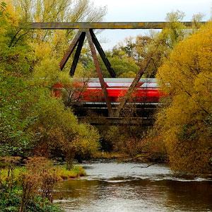 train traveling on bridge over river
