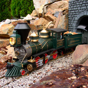 model train exiting tunnel